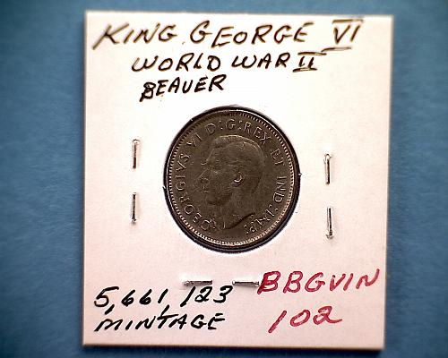 1939 CANADA FIVE CENTS  KING GEORGE V1