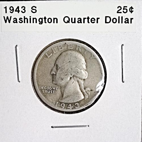 1943 S Washington Quarter Dollar - 4 Photos!