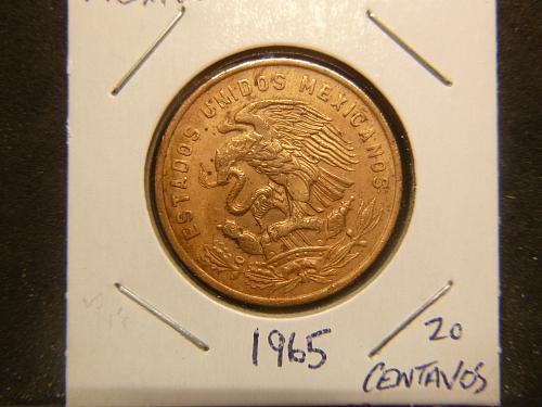 MEXICO 1965 20 CENTAVOS