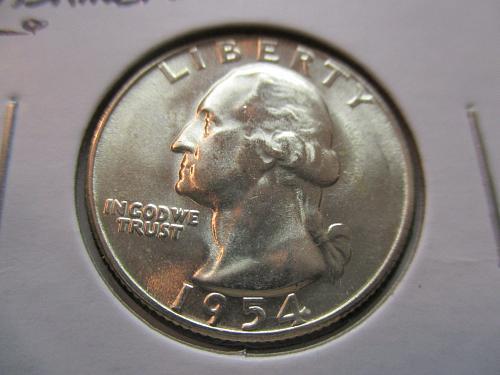 1954-S  MS65 Washington Quarter.  Item: 25 W54S-06.