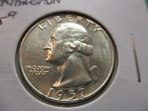 1957-D  MS63 Washington Quarter.  Item: 25 W57D-02.
