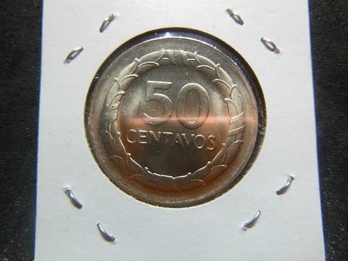 REPUBLIC OF COLOMBIA 1967 50 CENTAVOS
