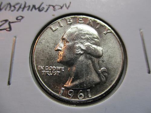 1961  MS62 Washington Quarter.  Item: 25 W61-03.