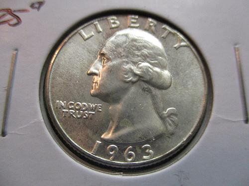1963  MS63 Washington Quarter.  Item: 25 W63-02.