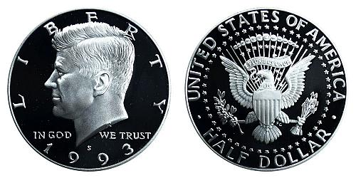 1993-D KENNEDY HALF DOLLAR FROM MINT SET IN CELLO  B-15-21