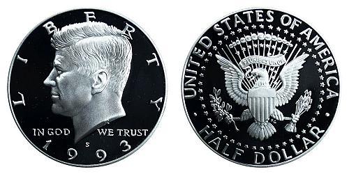 1993-S KENNEDY HALF DOLLAR FROM PROOF SET IN FLIP  B-15-21