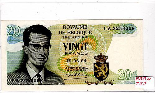 JUNE 15, 1964  BELGIUM 20 FRANCS  BANKNOTE