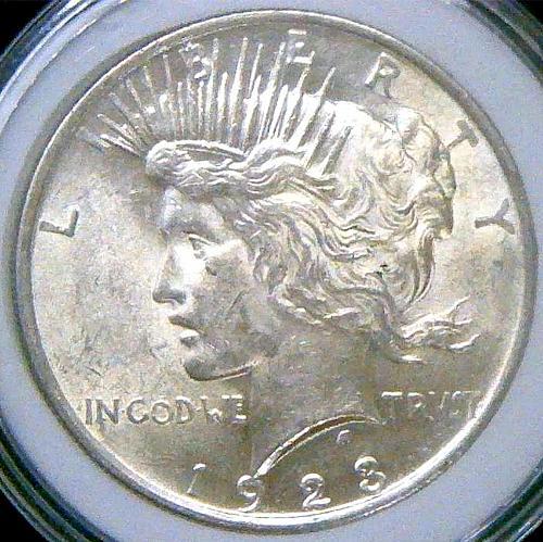 1923 Peace Dollars Early Silver Dollars.  V2P16R3