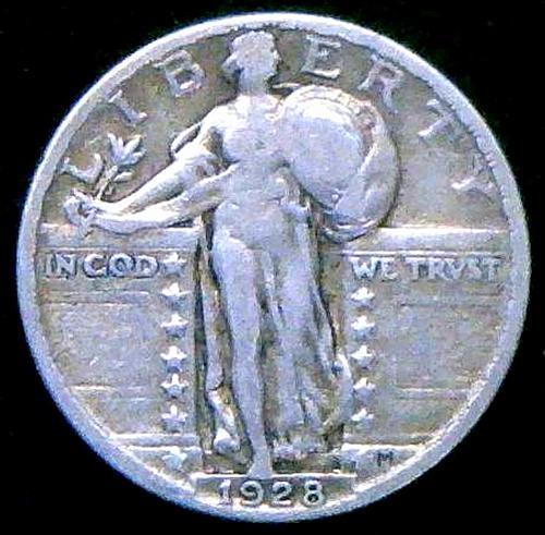 1928 Standing Liberty Quarters Type 2. V2P16R4