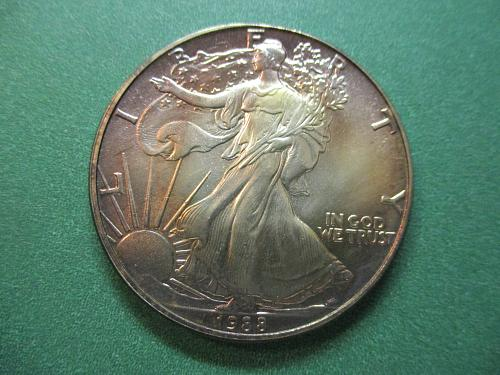 1988 American Silver Eagle.  Obverse Toning.  See Photo.  Item: E88T.