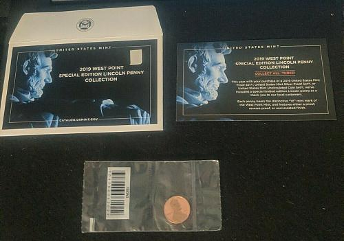 2019-W REVERSE PROOF LINCOLN CENT in its Mint Issued Poly Bag & Card/Envelope