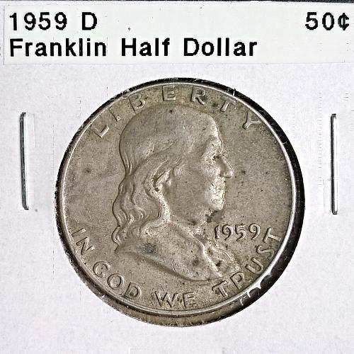 1959 D Franklin Half Dollar - 4 Photos!