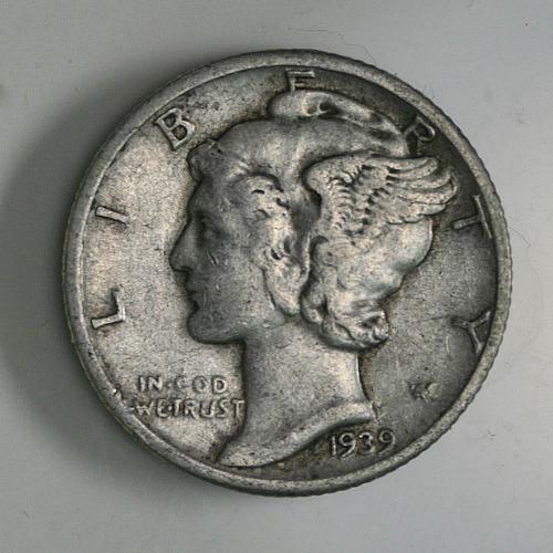1939 P Mercury Dime XF