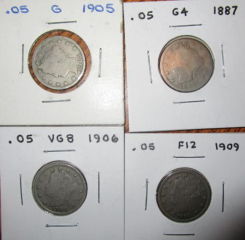 Lot of three (3 ea.) V-Nickels (The 1887 just sold)