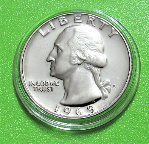 1969-S 25 Cents - Washington Quarter - Cameo Proof
