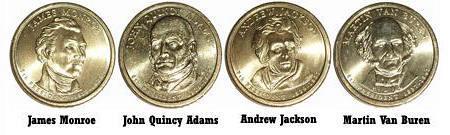 2008-S PRESIDENT MONROE, ADAMS, JACKSON, VAN BUREN DOLLAR  UNCIRCULATED B-19-21