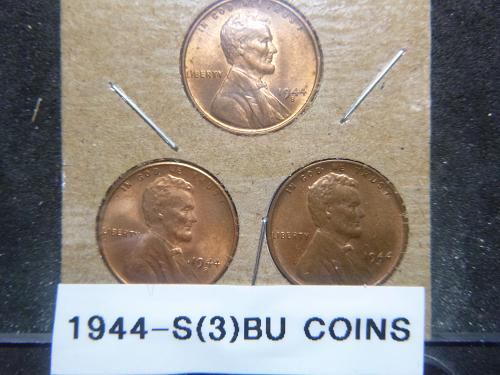 (3) 1944 S Lincoln Wheat Cent Small Cents
