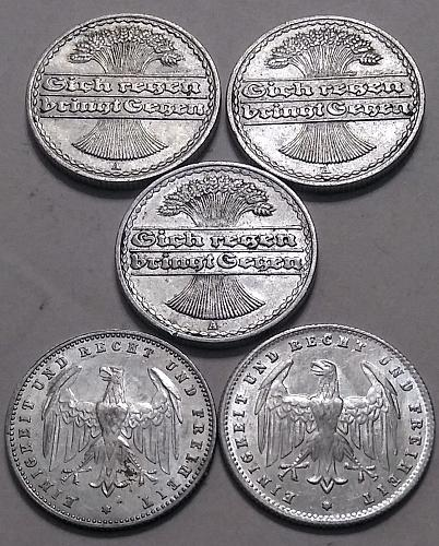 1920 AND 22-A GERMAN 50 PFENNIG -- 1923-A AND D 200 MARK