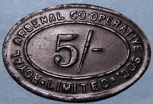GREAT BRITAIN ROYAL ARSENAL CO-OP 5 SHILLING TOKEN