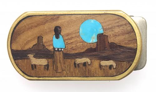 Turquoise and Wood Money Clip, Brass and Stainless Steel