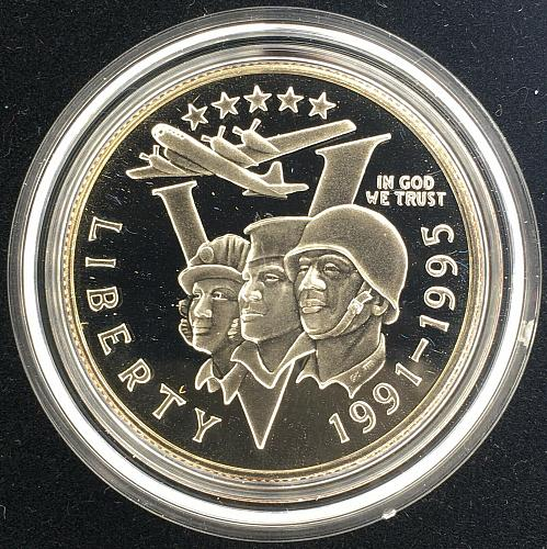 1991-1995 World War II 50th Anniversary 2 Coin Silver Dollar Proof Set