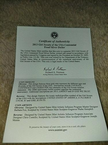2013 Girl Scouts of the USA Centennial Silver Dollar Proof