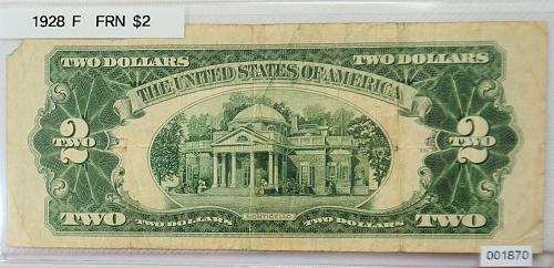 1928 F Federal Reserve Note $2 == Red Seal