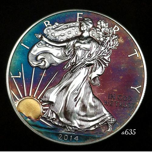 2014 Rainbow Toned Silver American Eagle 1 troy ounce silver Monster toned #a635