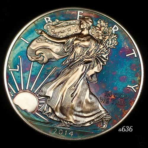 2014 Rainbow Toned Silver American Eagle 1 troy ounce silver Monster toned #a636
