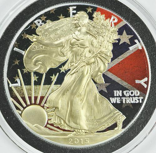 2015 Gold Gilded Silver American Eagle Colored US and Confederate Flag Coin
