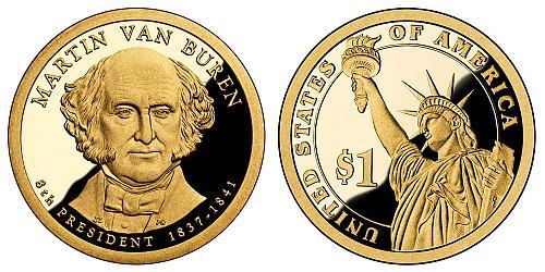 2008-S PRESIDENT VAN BUREN COIN FROM PROOF SET IN FLIP  B-22-21