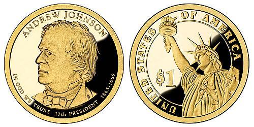 2011-S ANDREW JOHNSON PRESIDENTIAL CAMEO DOLLAR FROM PROOF SET IN FLIP  B-22