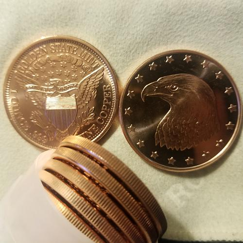 TEN (10) Golden State Mint Eagle with Stars Copper Rounds