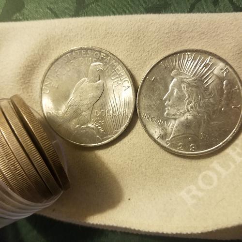 Roll of TWENTY (20) 1923 Uncirculated Peace Dollars