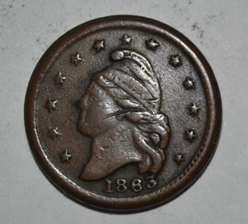 1863 CWT Civil War Patriotic Token Liberty Head NEW YORK G583