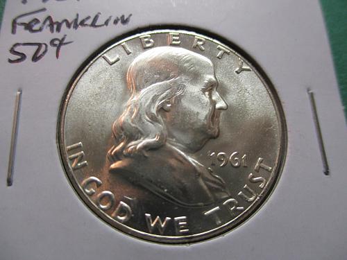 1961  MS64 Franklin Half Dollar.  Item: 50 F61-02.