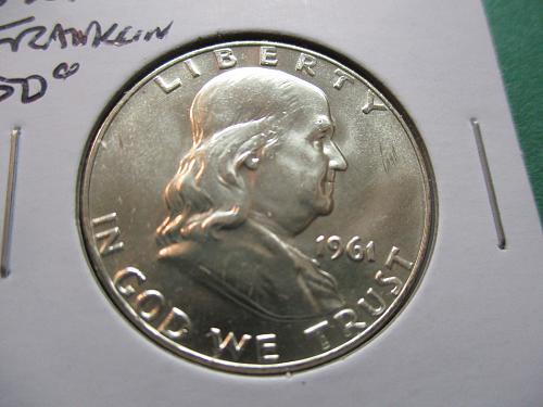 1961-D  MS62 Franklin Half Dollar.  Item: 50 F61D-01.