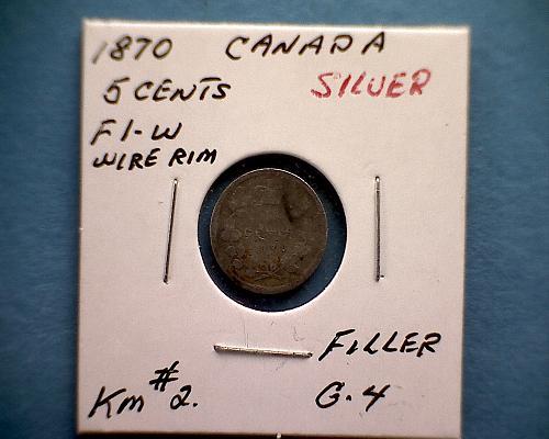 1870 CANADA FIVE CENTS QUEEN VICTORIA