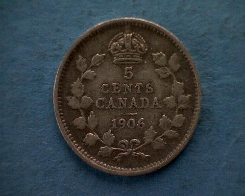 1906 CANADA FIVE CENTS  KING EDWARD V11