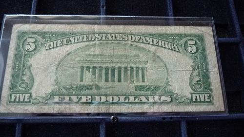 1934-D FIVE DOLLAR SILVER CERTIFICATE NOTE SER# T49850779A  B-23-21