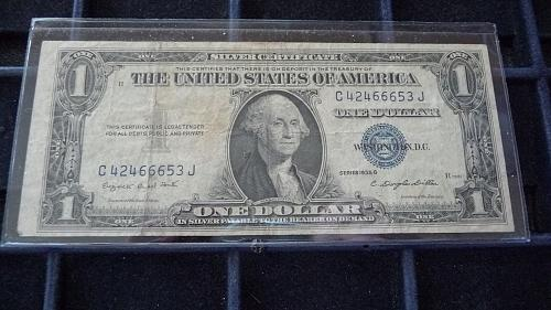 1935-G ONE DOLLAR SILVER CERTIFICATE NOTE SER# C42466653J  B-23-21