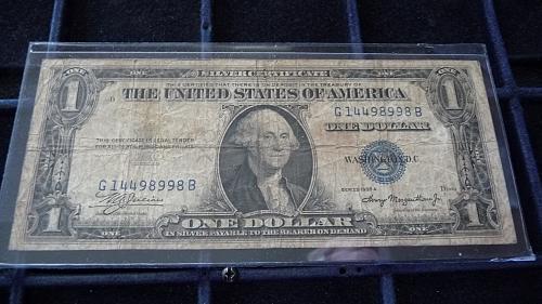 1935-G ONE DOLLAR SILVER CERTIFICATE NOTE SER# G14498998B  B-23-21