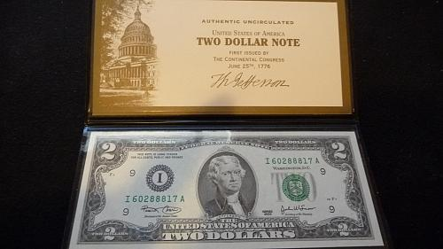 2003 $2 DOLLAR FRN NOTE IN UNC CONDITION W/HOLDER & COA  B-26-21