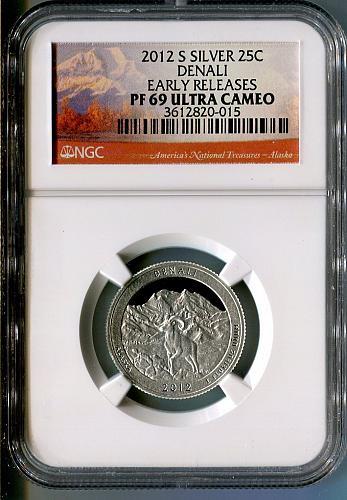 "2012 - S  ""Silver"" ""Early Release"" DENALI  Quarter  NGC  PF 69 ULTRA CAMEO"