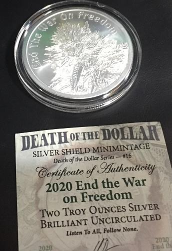 End The War On Freedom 2oz .999 Pure Silver Round *Legalize Cannibis* Silver Shi