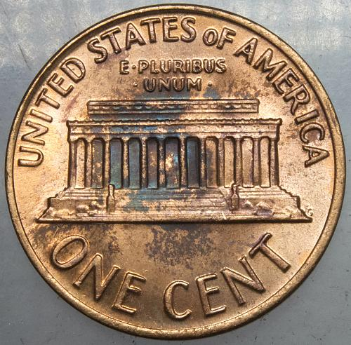 1970 S Lincoln Memorial Cent Large Date#4 BLUE Toned Obverse