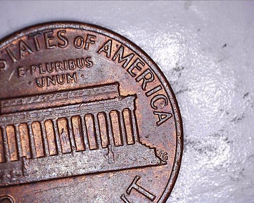 1980 P penny reverse lamination peal