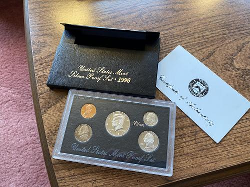 1996 SILVER PROOF SET - U.S. MINT PACKAGING AND COA IN EXCELLENT CONDITION