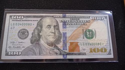 2009 $100 DOLLAR *STAR* NOTE SER #-LG03400080* IN AU+ CONDITION  B-27-21