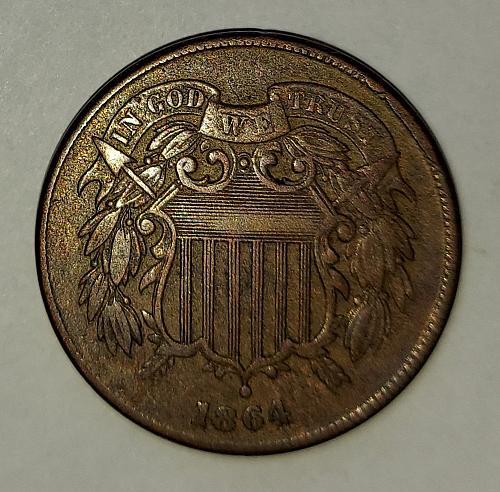 1864 2 CENT - VF - Beautiful - Large Motto